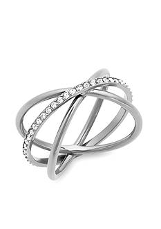Michael Kors Silver-Tone Criss-Cross Ring