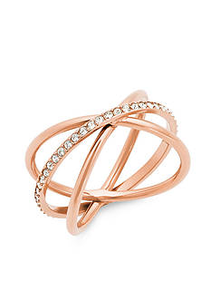 Michael Kors Jewelry Rose Gold-Tone Criss-Cross Ring