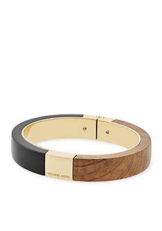 Michael Kors Jewelry Gold-Tone, Black, and Wood Bangle Bracelet
