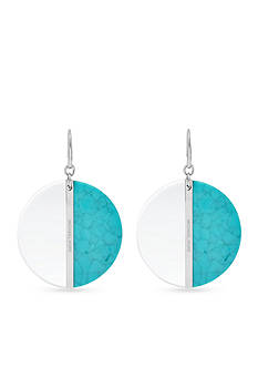Michael Kors Silver-Tone Turquoise and Clear Acetate Drop Earrings