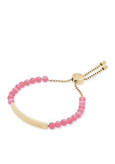 Michael Kors Jewelry Gold-Tone and Pink Beaded Slider Bracelet