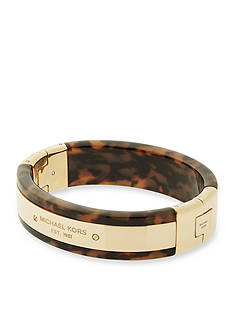 Michael Kors Gold-Tone and Tortoise Hinge Bangle Bracelet