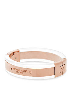 Michael Kors Rose Gold-Tone and Clear Logo Bangle Bracelet