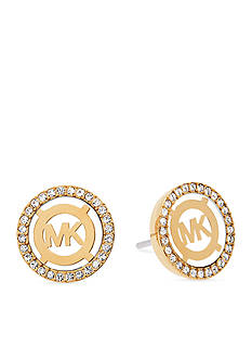 Michael Kors Gold-Tone Mother of Pearl Logo Earrings
