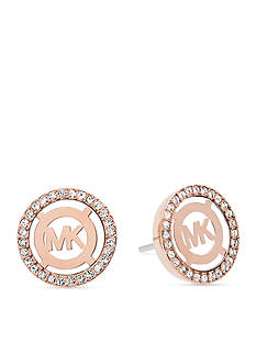 Michael Kors Rose Gold-Tone Monogram Button Earrings