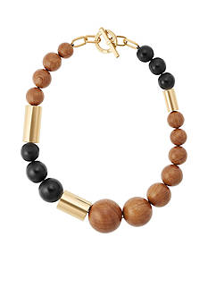 Michael Kors Jewelry Gold-Tone, Black, and Wooden Beaded Necklace