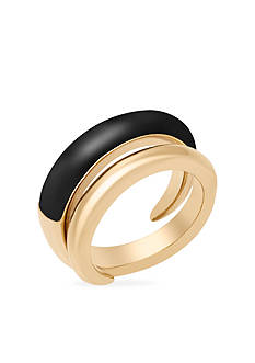 Michael Kors Jewelry Gold-Tone Black Statement Ring