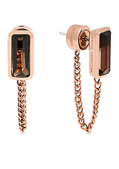 Michael Kors Rose Gold-Tone Smokey Topaz Stud Earrings