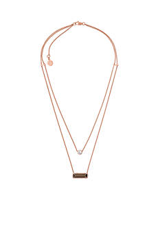 Michael Kors Rose Gold-Tone Smokey Topaz Layered Necklace