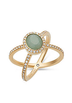 Michael Kors Gold-Tone Jade Stone Pave Double Banded Ring