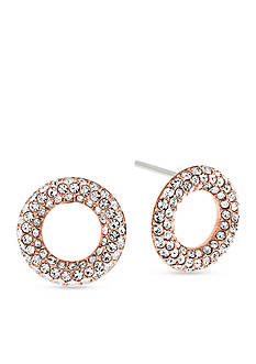 Michael Kors Rose Gold-Tone Pave Crystal Stud Earrings