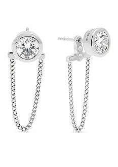 Michael Kors Silver-Tone Chain Drape Stud Earrings
