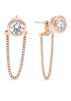Michael Kors Rose Gold-Tone Chain Drape Stud Earrings