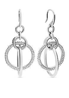 Michael Kors Silver-Tone Interlocking Hoop Pave Earrings