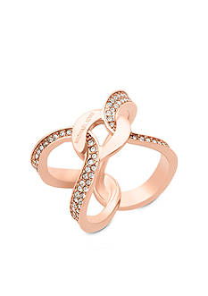 Michael Kors Jewelry Rose Gold-Tone Interlocking Pave Ring