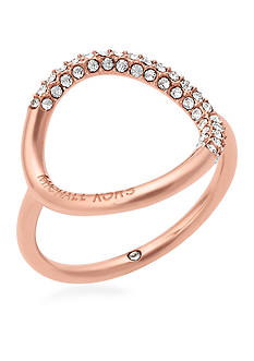 Michael Kors Jewelry Rose Gold-Tone Open Circle Pave Crystal Ring
