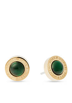 Michael Kors Gold-Tone Green Mother of Pearl Stud Earrings