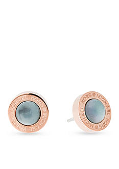 Michael Kors Rose Gold-Tone Grey Mother of Pearl Stud Earrings