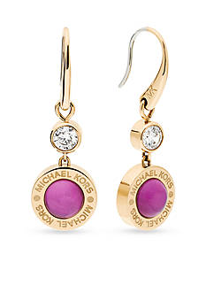 Michael Kors Gold-Tone Purple Mother of Pearl Drop Earrings
