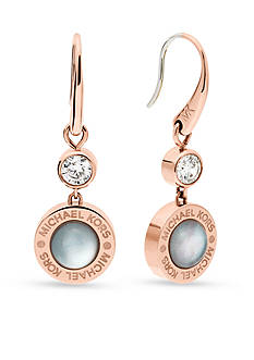 Michael Kors Rose Gold-Tone Gray Mother of Pearl Drop Earrings