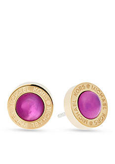 Michael Kors Gold-Tone Purple Mother of Pearl Stud Earrings