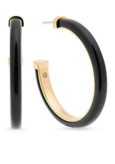 Michael Kors Gold-Tone Black Hoop Earrings