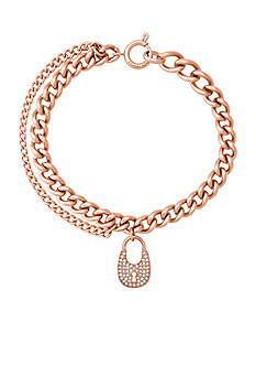 Michael Kors Rose Gold-Tone Pave Padlock Charm Chain Bracelet