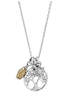 Fossil Tree Charm Pendant Necklace in Silver Tone