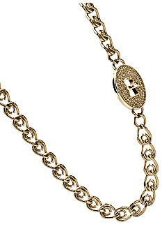 Fossil Chain Link Necklace with Glitz Pave Turnlock in Goldtone