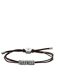 Fossil Shiny Silver Tone & Clear Crystal Beaded Chocolate Brown Leather Wrist Wrap