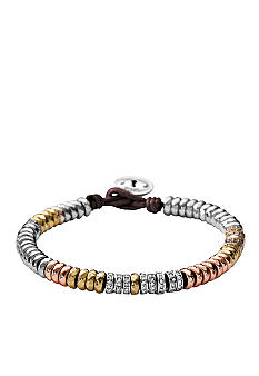 Fossil Mixed Rondell Bracelet on Chocolate Cording