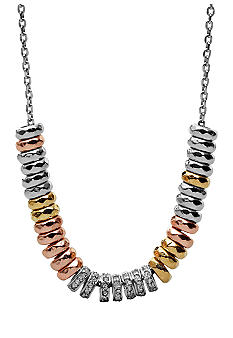 Fossil Mixed Rondell Frontal Necklace on Silver Tone Chain