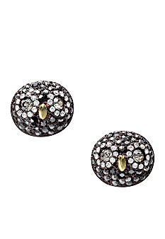Fossil Crystal Pave Owl Stud Earrings