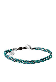 Fossil Dainty Double Strand Turquoise Thread Bracelet with Star Charm