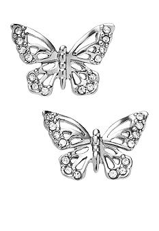 Fossil Shiny Open Work Butterfly Stud Earrings