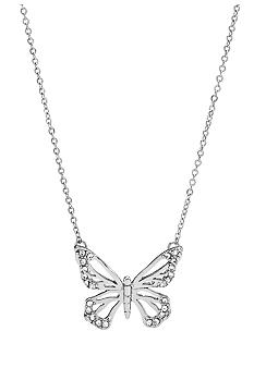 Fossil Small Shiny Silvertone and Clear Crystal Open Butterfly Pendant