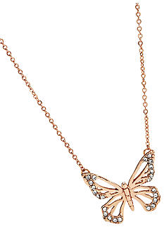 Fossil Small Rose Goldtone and Black Diamond Butterfly Pendant