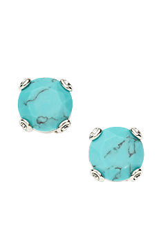 Fossil Turquoise Stud Earrings on Shiny Silvertone