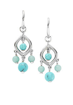 Fossil Turquoise Baby Chandelier Earrings in Shiny Silver Tone