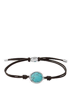 Fossil Turquoise and Chocolate Leather Wrist Wrap