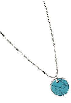 Fossil Turquoise Disc Pendant Necklace in Shiny Silver Tone with Metal Rimmed Setting