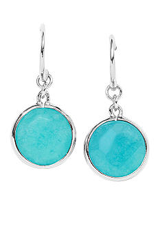 Fossil Faceted Round Teal Dyed Earring