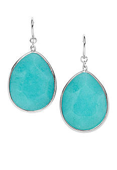 Fossil Faceted Teal Dyed Drop Earring