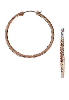 Fossil Glitz Hoop in Rose Gold Plating with Black Diamond Glitz