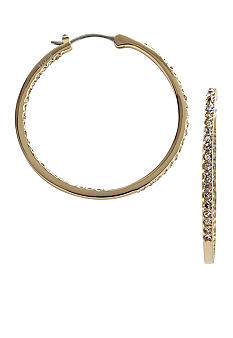 Fossil Medium Crystal Hoop in Gold Tone with Black Diamond Glitz