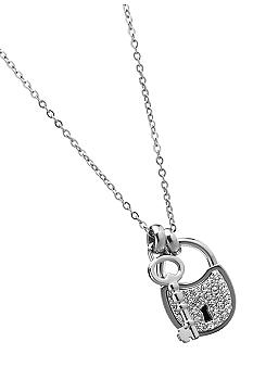 Fossil Lock and Key Silver Tone  Pendant Necklace with Clear Glitz