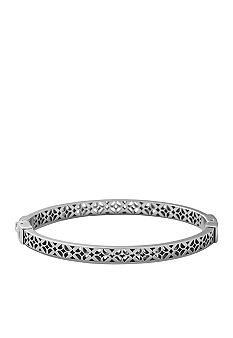 Fossil Polished Steel Signature Pattern Cutout Hinged Bangle
