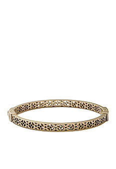 Fossil Shiny Gold Tone Signature Pattern Cutout Hinged Bangle