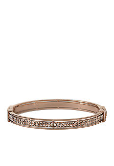 Fossil® Hinged Bangle in Rose Gold with Black Diamond Crystal Pave