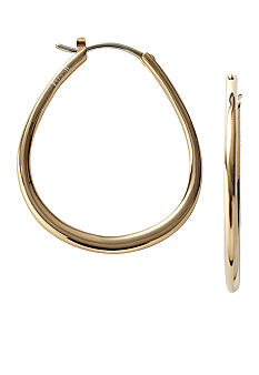 Fossil Gold Tone Medium Tear Shaped Hoops
